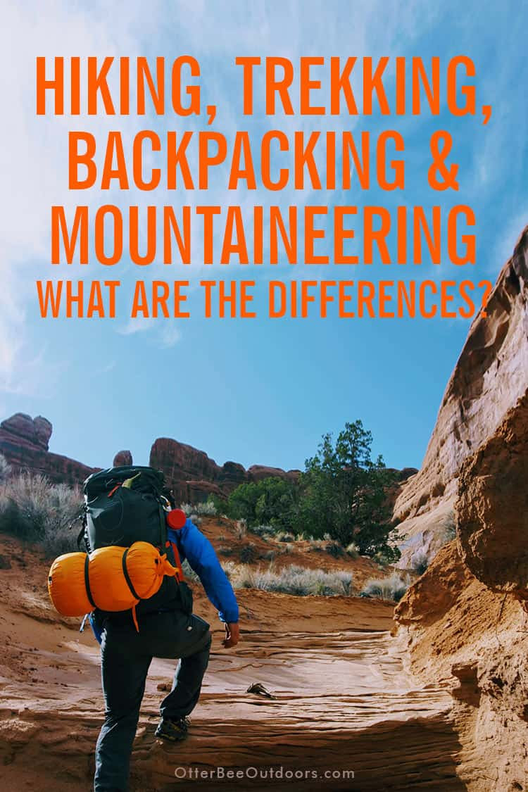 What's the difference between hiking, trekking, backpacking, and mountaineering? Backpacking is a multiple-day journey in a remote location that transverses a longer distance with beginning and ending points that are rarely the same. Backpackers carry all equipment needed for the adventure including tent, sleeping bag, food, cooking equipment, water, and more. The trails they choose are often over difficult terrain and they may or may not be marked clearly.