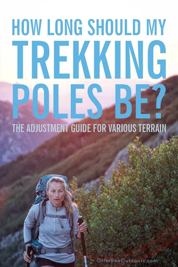 How to choose the pole length for adjustable-length trekking poles and hiking staffs for various terrain to reduce the strain hiking places on the joints of your lower body. Trekking pole lengths for flat terrain, hiking uphill, hiking downhill, and along the contour of a slope. And the three common locking mechanisms for adjustable poles. #hikingpoles #trekkingpoles #hikingstaff #hikingsticks #walkingpoles #walkingsticks