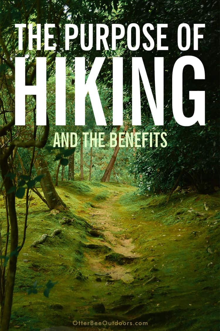 The Purpose Of Hiking? The Benefits: Hiking offers a unique opportunity for exercise, socialization, learning, escape, reflection, expansion of thought, and improved mental well-being. One unparalleled activity with benefits covering the gamut of physical, social, familial, cognitive, mental, spiritual, and financial well-being. Though you're still moving, hiking provides a meditative experience for reflection and greater connection with the creator.