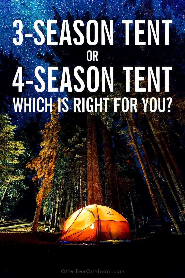 A four-season tent set up in the forest. the image text says... 3-Season Tent or 4-Season Tent. Which Is Right for You?