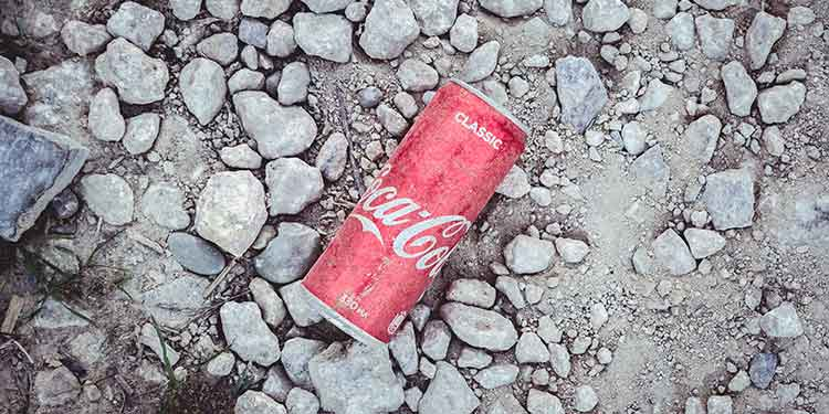 A classic Coca-Cola can littering a rocky hiking trail.