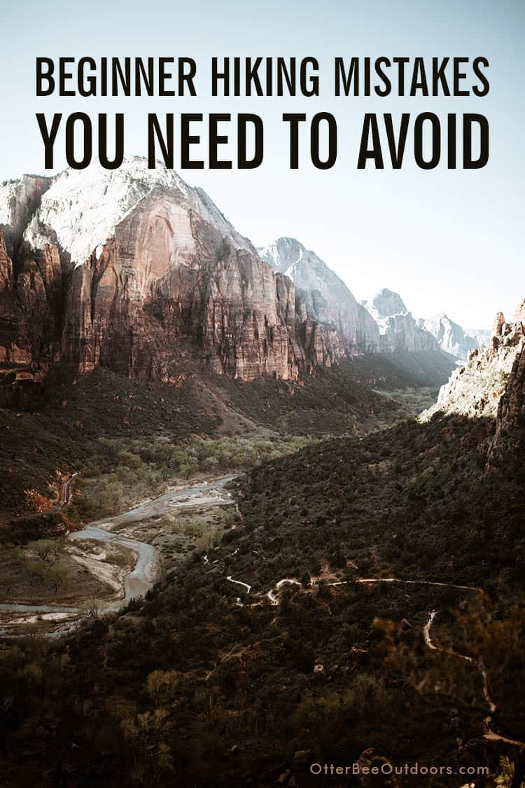 Elevated view of a trail running along a canyon floor. Text says... Beginner Hiking Mistakes You Need To Avoid.