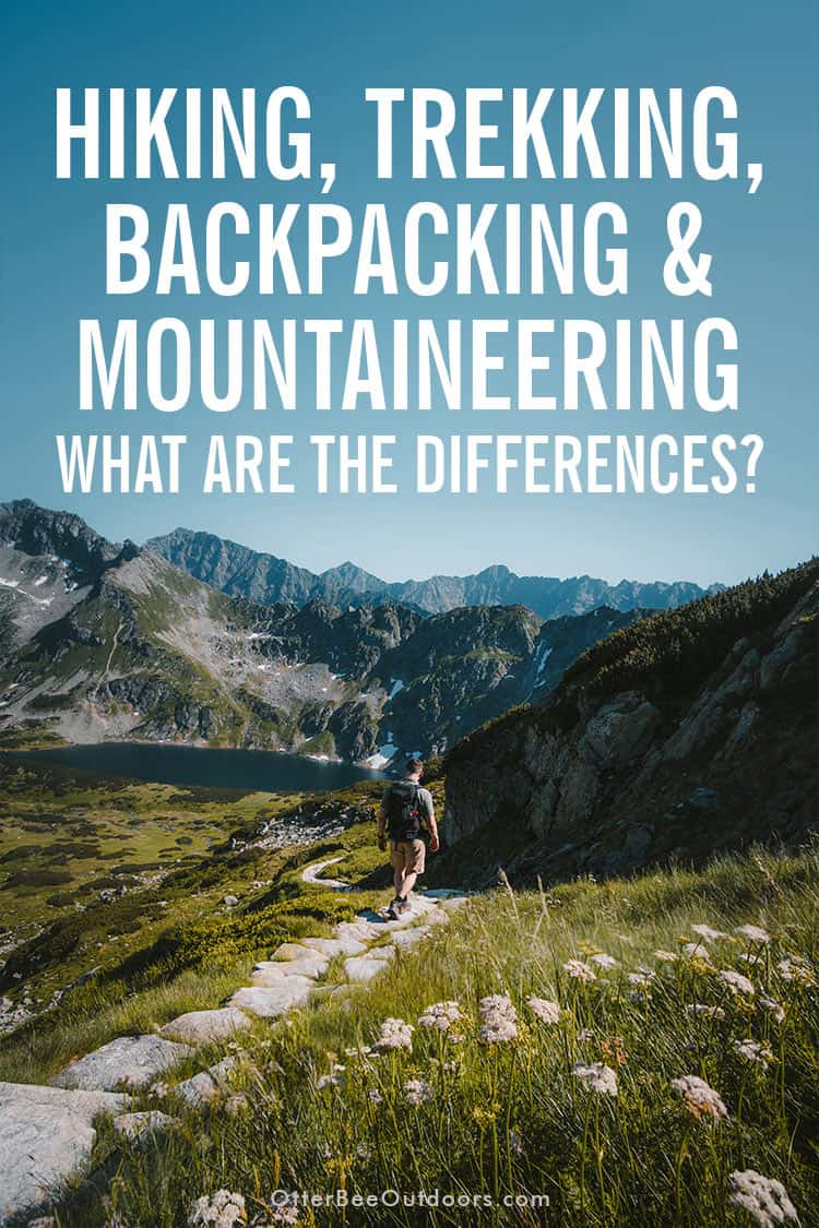 A man walking along a hiking trail in the mountains. The images asks... Hiking, trekking, backpacking, and mountaineering. What are the differences?