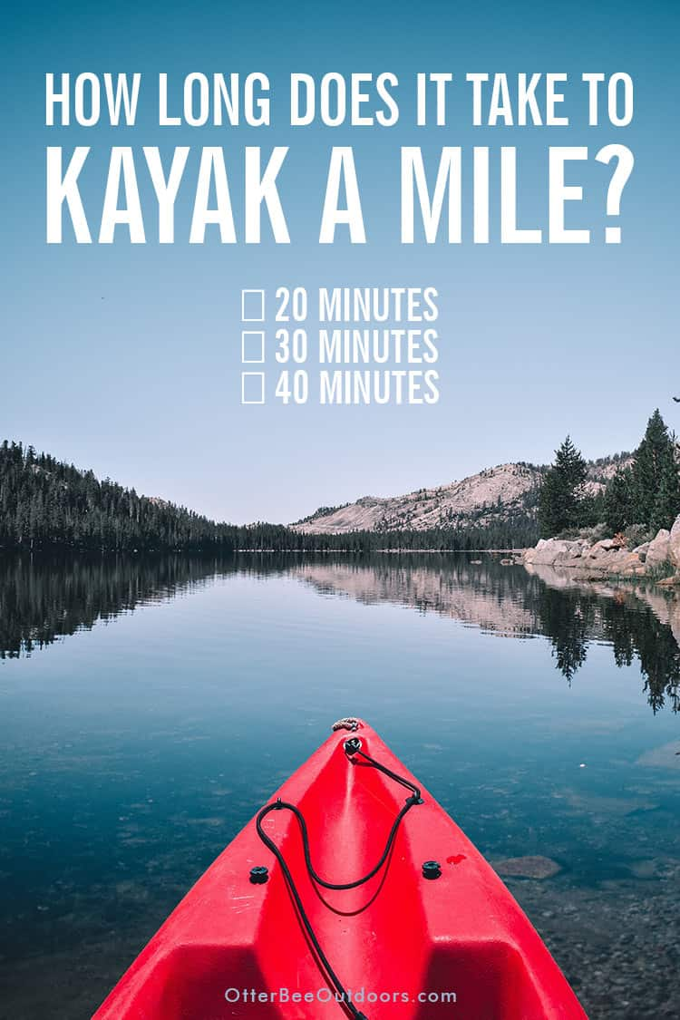 A kayak on a beautiful mountain lake. Text asks... How long does it take to kayak a mile? Twenty minutes? Thirty minutes? Forty minutes?