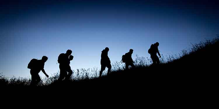 A group of night hikers.