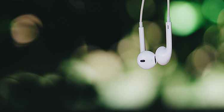 A pair of apple earbuds in the foreground. A forrest in the background.