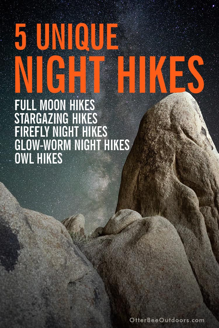 Night sky scene through a rock outcropping. Text says... 5 Unique Night Hikes. Full Moon Hikes, Stargazing Hikes, Firefly Night Hikes, Glow-Worm Night Hikes, and Owl Hikes.