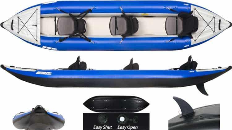 Multiple views of the Sea Eagle 420x Explorer Inflatable Kayak.
