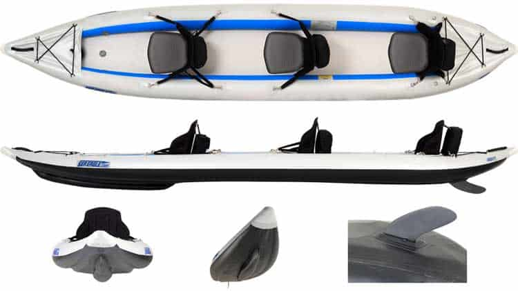 Multiple views of the Sea Eagle 465ft FastTrack Inflatable Kayak.