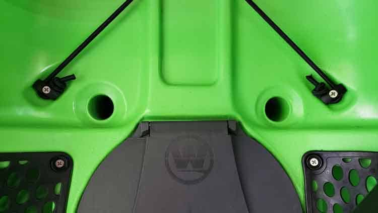 Kayak scupper holes on a Wilderness Systems Tarpon 105 that can be closed off with scupper plugs or scupper valves.