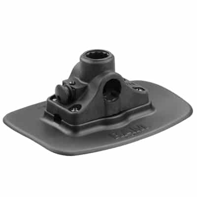 RAM Bond-A-Base Black Adhesive Base with RAM ROD Post/Spline Receiver for inflatable kayaks and other inflatable boats.