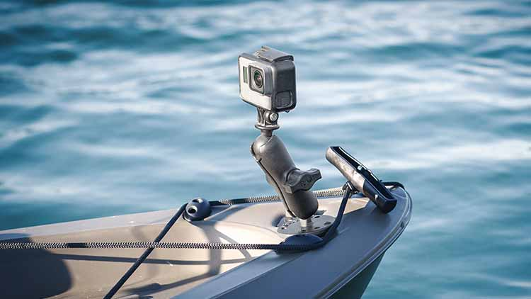 GoPro drill-down mount from RAM Mounts on the front of a kayak.