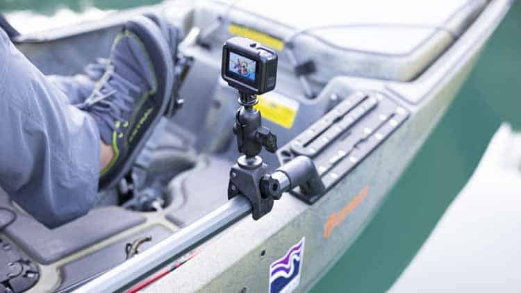 GoPro clamp mount from RAM on the side rail of a fishing kayak.