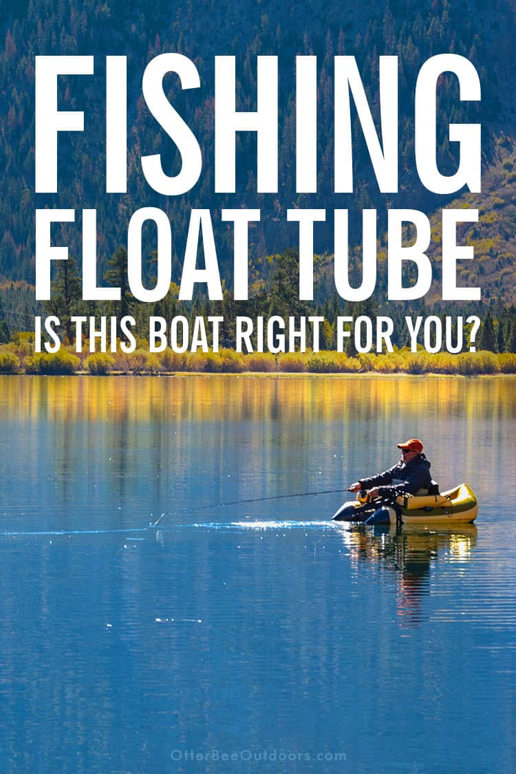 Fly fisherman in a fishing float tube on a remote lake in the mountains on a Fall day. Graphic says... Fishing Float Tube. Is This Boat Right For You?