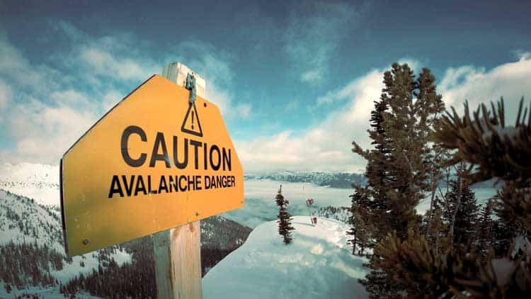 Snowshoeing safety includes watching out for the dangers of an avalanche.