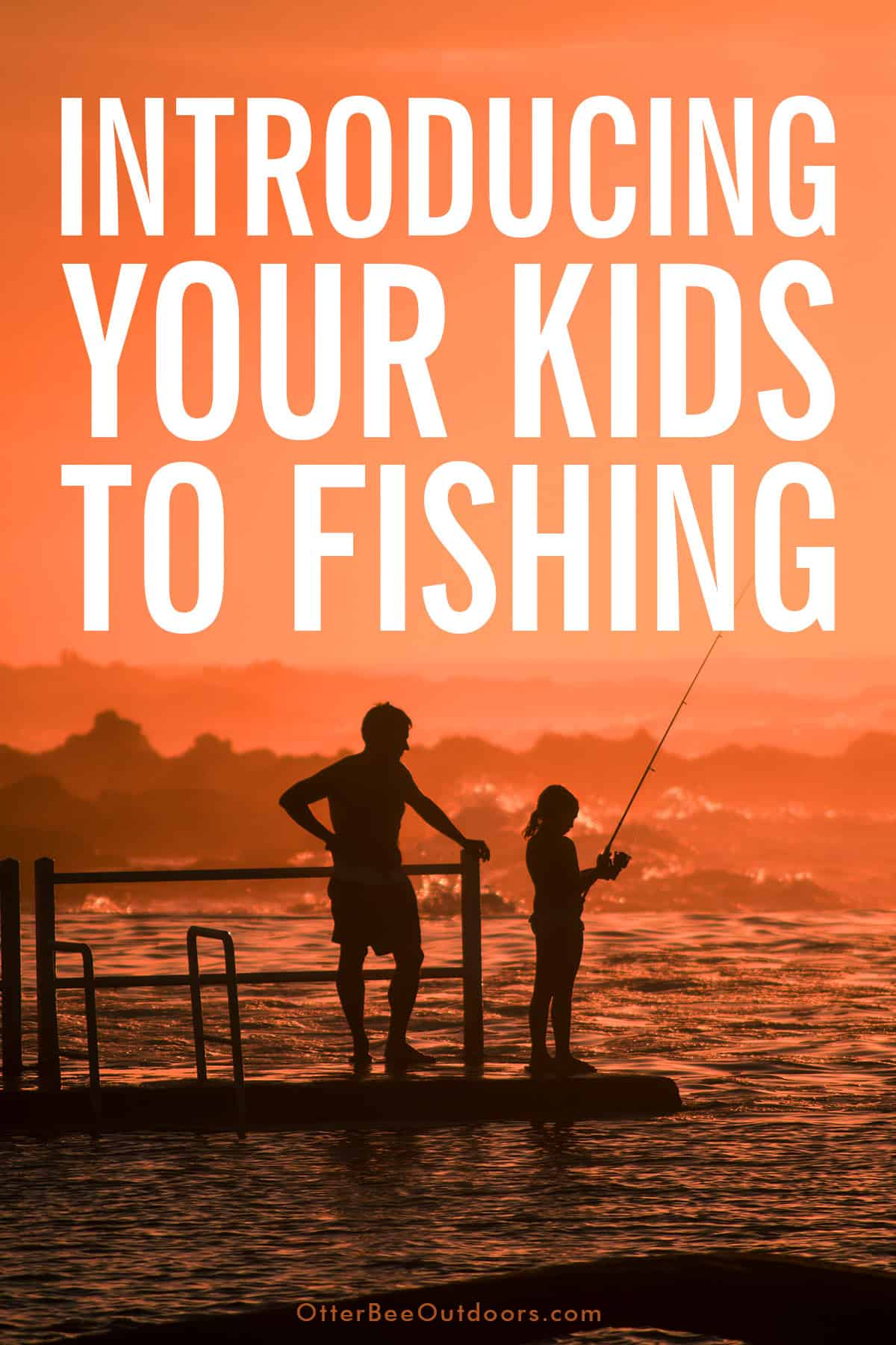 Man teaching his daughter to fish at the ocean. The graphic reads... Introducing Your Kids To Fishing.