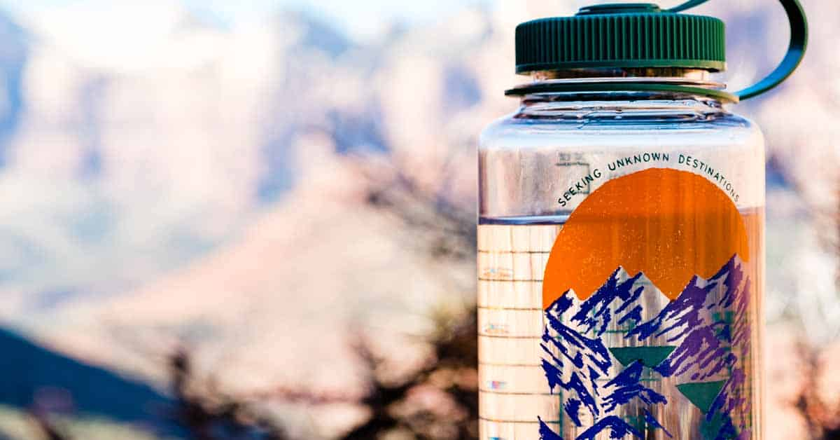 Extra Nalgene water bottle taken on a hike as part of the Ten Essentials for outdoor adventures.