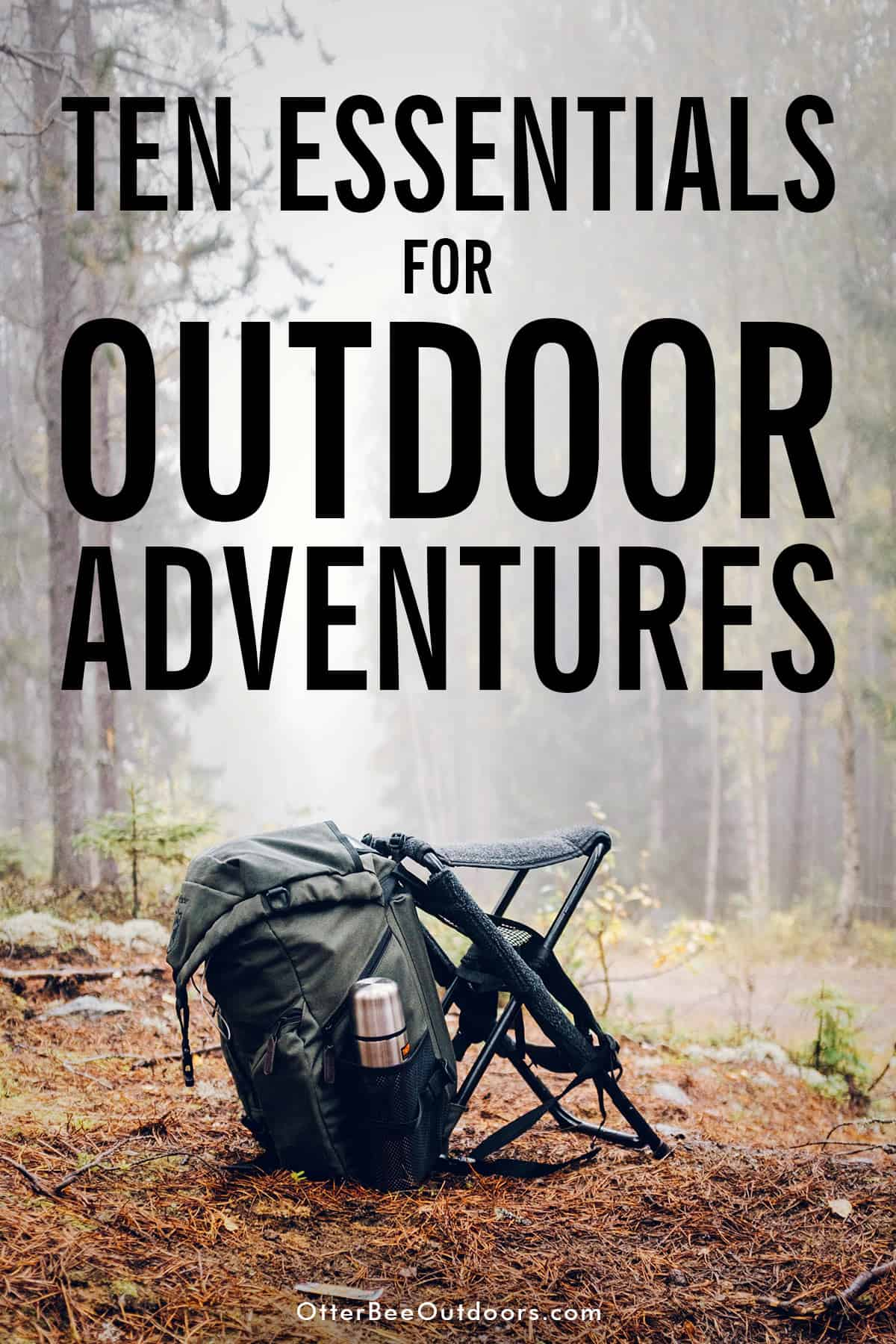 Backpack to the side of a trail in the woods. The graphic says, Ten Essentials for Outdoor Adventures.
