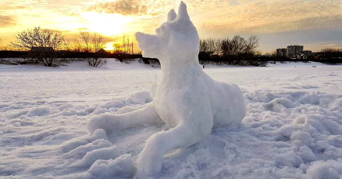 Not a snowman. A snow dog sculpture.