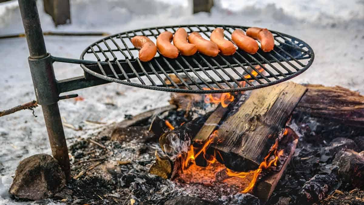 Hotdogs on a winter campfire.