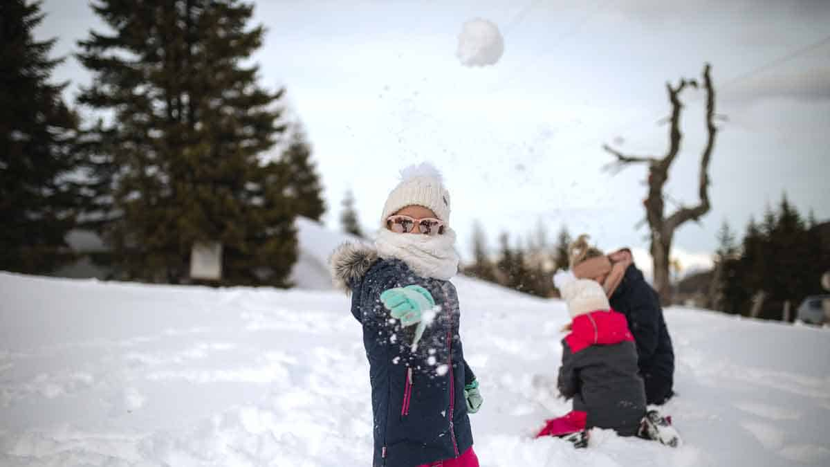A girl throwing a snowball.