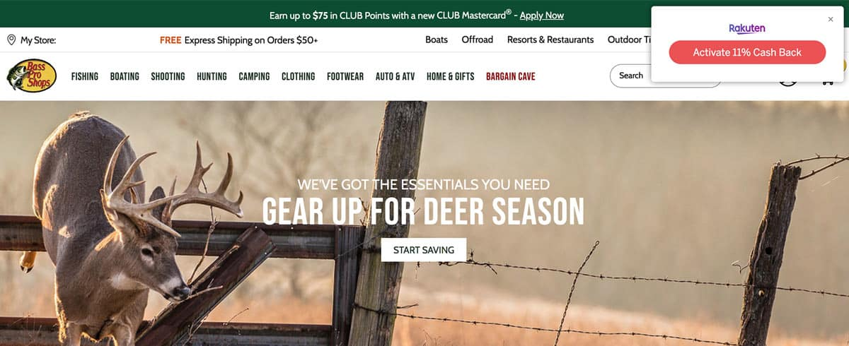 This is what the Rakuten browser extension button looks like at the Bass Pro Shops website. By clicking on the Rakuten button, you activate the Cash Back and any other savings.