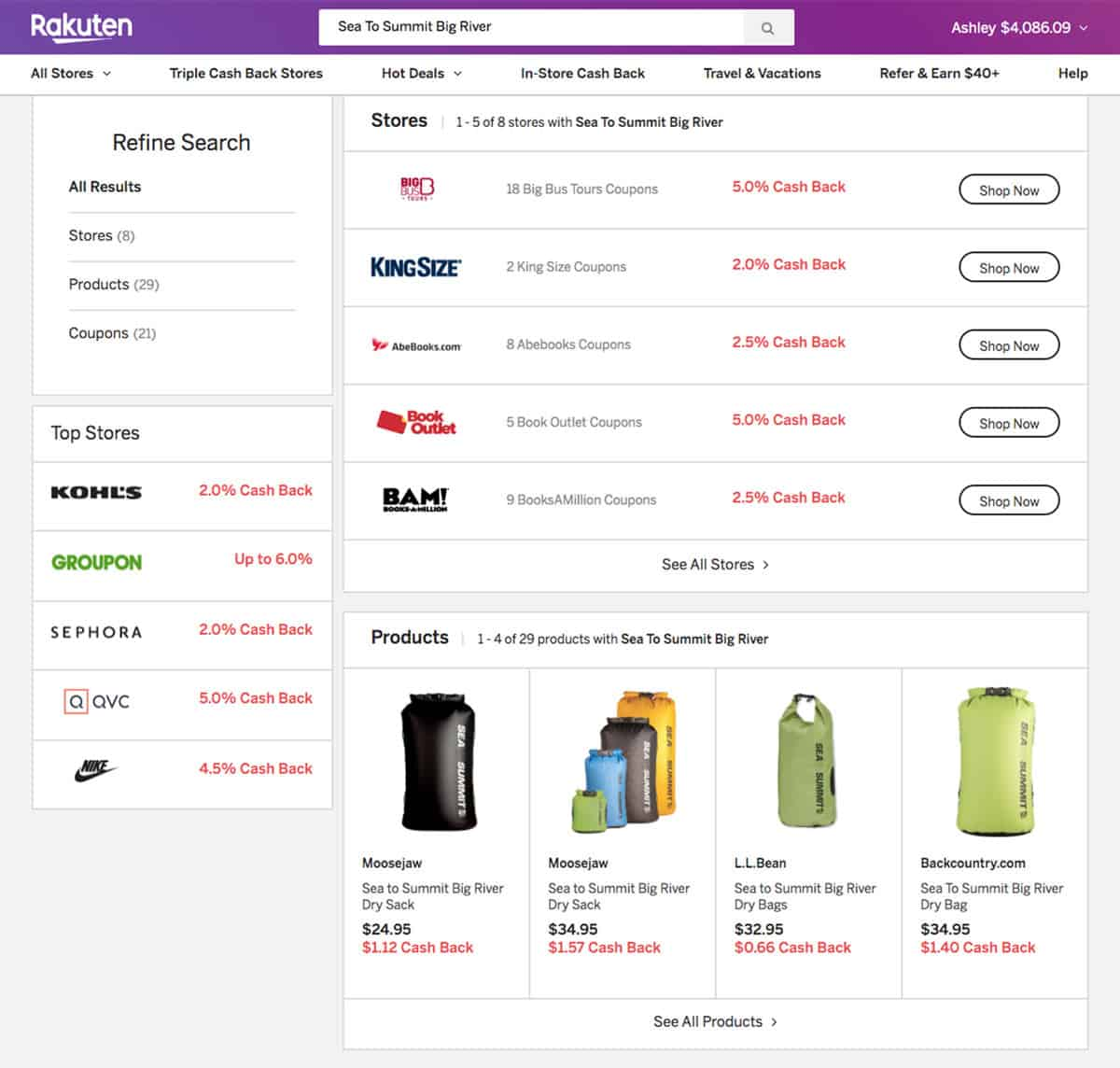 Rakuten can save you even more money on outdoor gear when you use the comparison shopping feature.