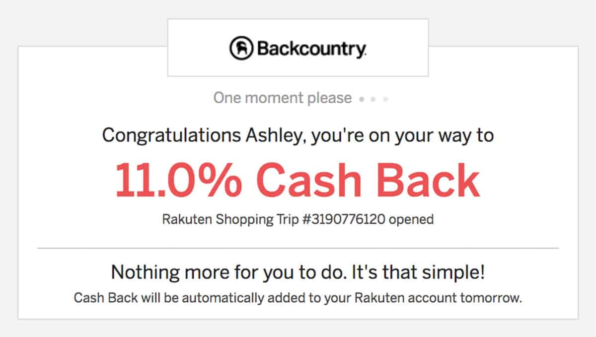 Rakuten shop now button for saving money on gear at Backcountry.