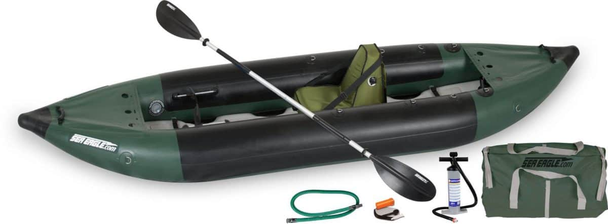 Sea Eagle 350fx Fishing Explorer Inflatable Kayak Deluxe Solo Package, Model Number 350FXK_DS.