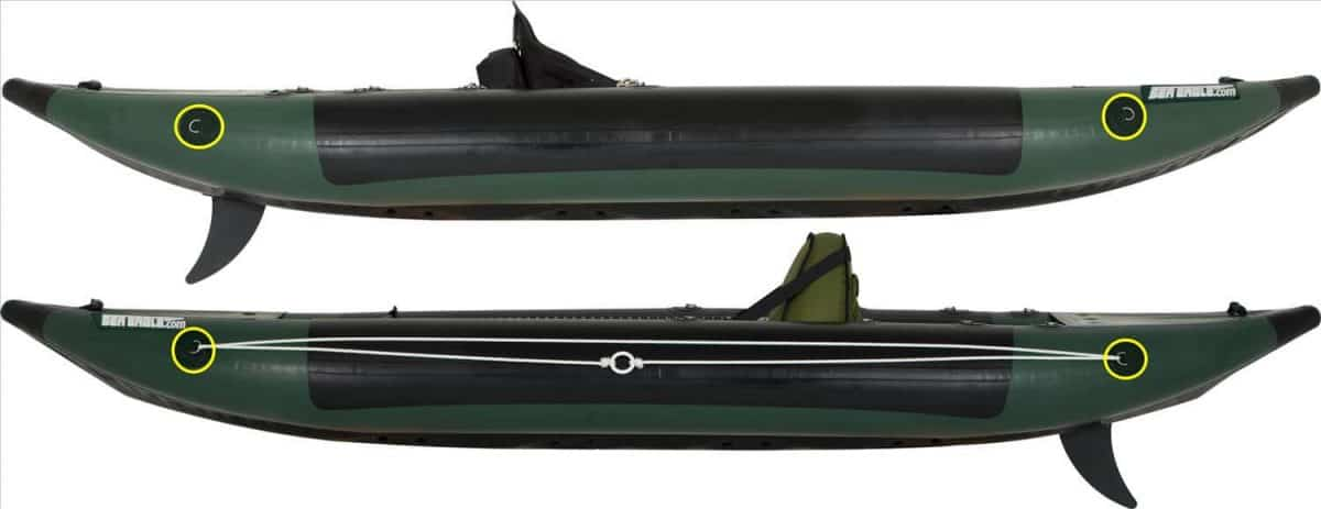 Sea Eagle 350fx Fishing Explorer Inflatable Kayak Right and Left Side Anchor Trolley Attachment D-rings.