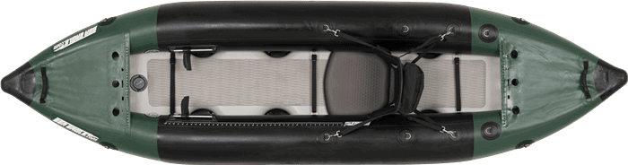 Top view of a Sea Eagle 350fx Fishing Explorer Kayak.