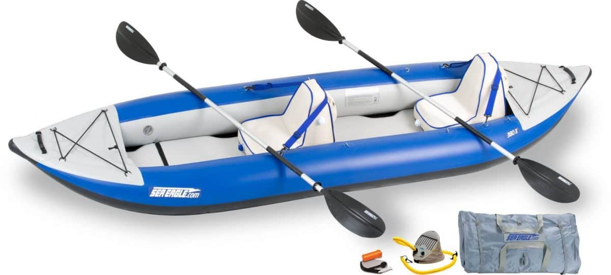 Sea Eagle 380x Explorer Inflatable Kayak Deluxe Package, Model Number 380XK_D.