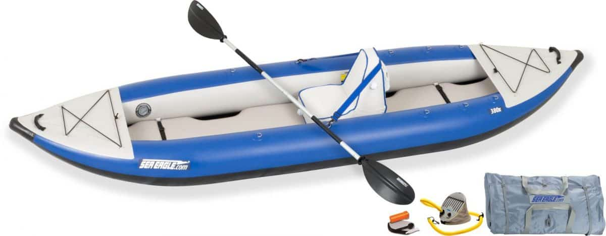 Sea Eagle 380x Explorer Inflatable Kayak Deluxe Solo Package, Model Number 380XK_DS.