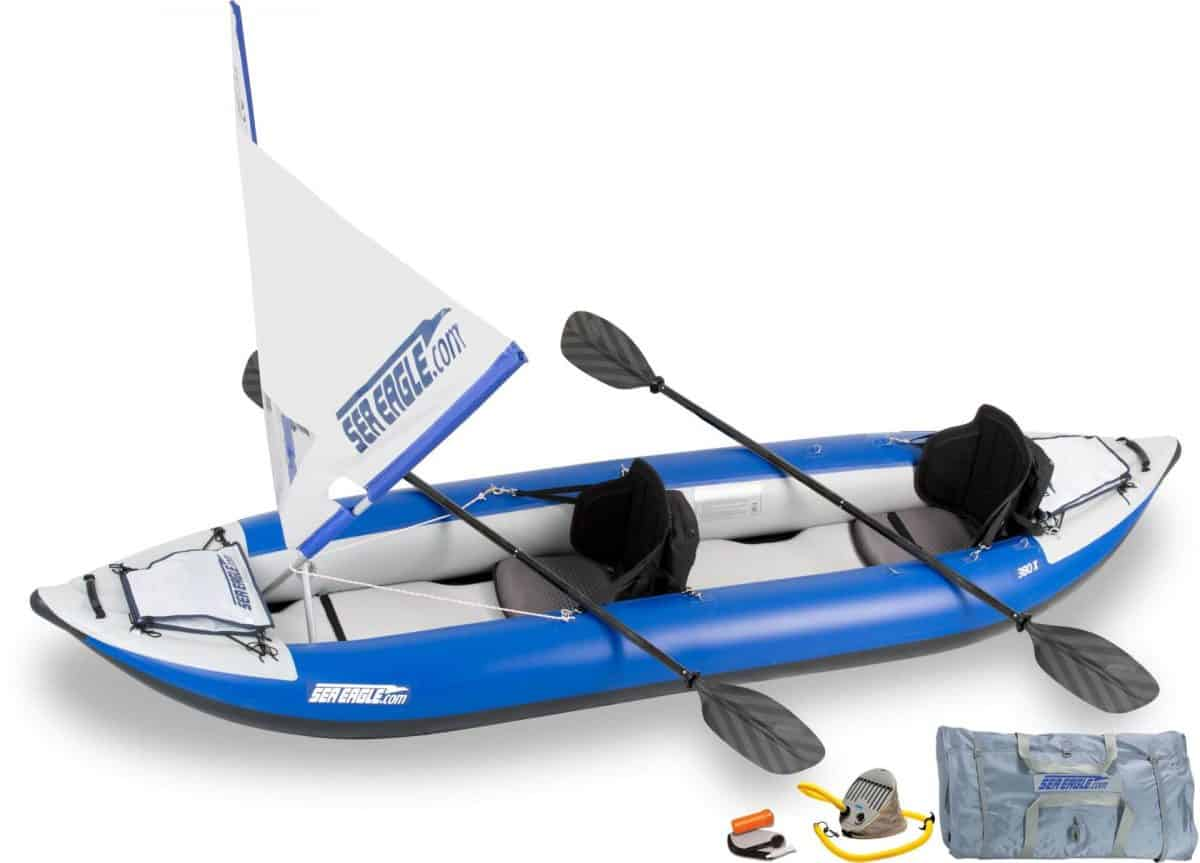 Sea Eagle 380X Explorer Inflatable Kayak QuikSail Package, Model Number 380XK_QS.