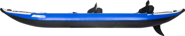 Side view of a tandem Sea Eagle 380X Explorer Inflatable Kayak.