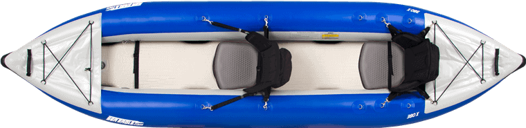 Top view of a tandem Sea Eagle 380X Explorer Inflatable Kayak.