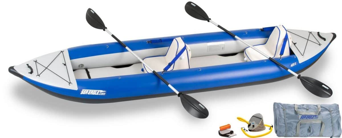 Sea Eagle 420X Explorer Inflatable Kayak Deluxe Package, Model Number 420XK_D.