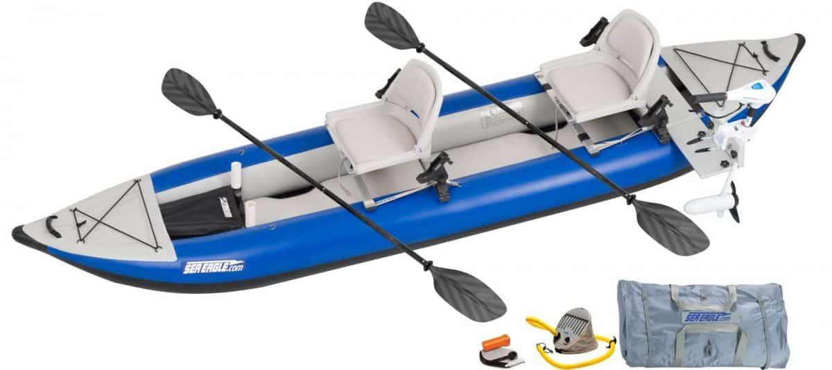 Sea Eagle 420X Explorer Inflatable Kayak Pro Motor Fishing Rig Package, Model Number 420XK_PMFR.