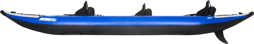 Side view of a three-person Sea Eagle 420X Explorer Inflatable Kayak.