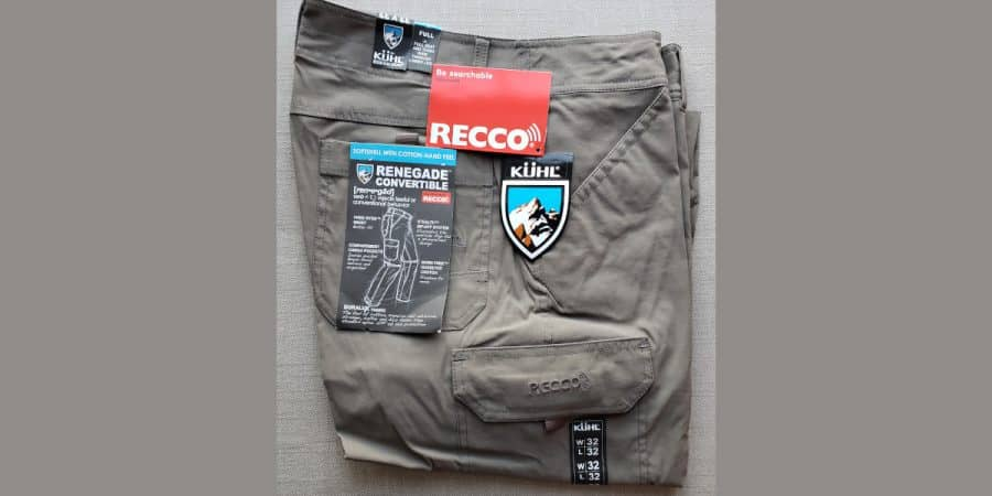 A pair of KÜHL Renegade Cargo Convertible Recco Pant with labels on.