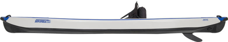 Side view of a one-person Sea Eagle 393rl RazorLite inflatable kayak.