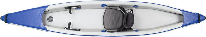 Top view of a one-person Sea Eagle 393rl RazorLite inflatable kayak.