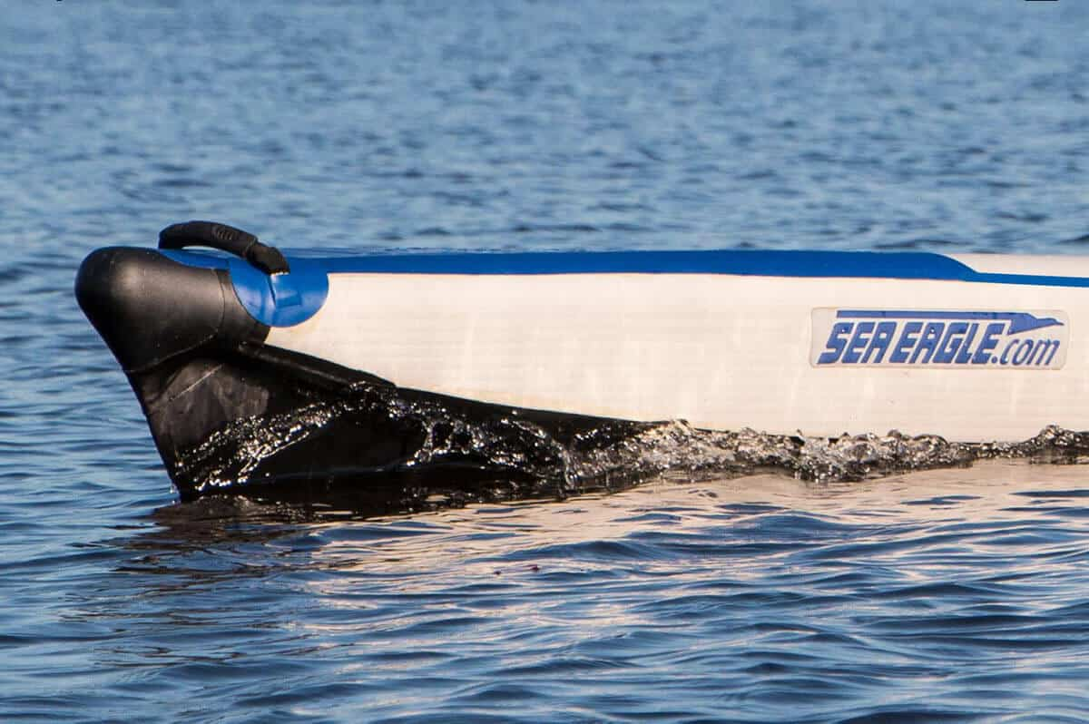 Sea Eagle RazorLite inflatable kayak rigid bow and stern molds create the worlds very first speed entry system