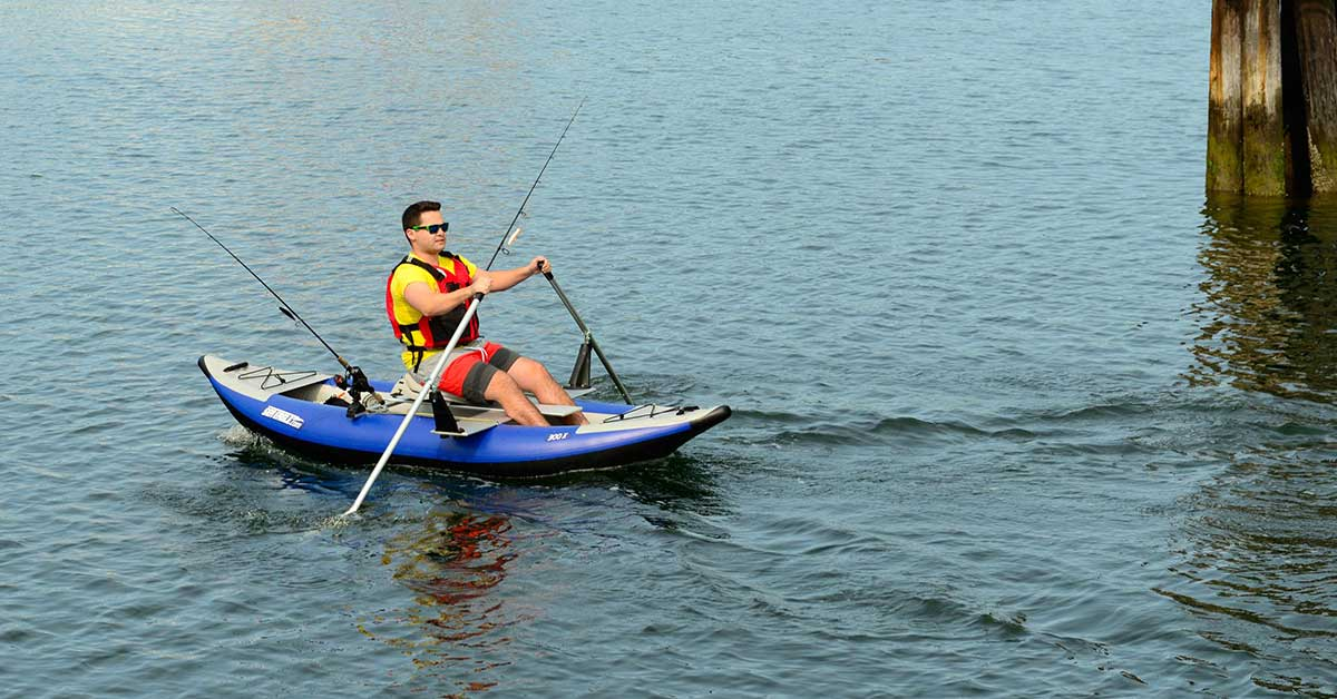Rowing a Sea Eagle 300x Explorer inflatable kayak with the QuikRow Kayak Package to the perfect fishing spot..