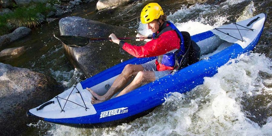 Whitewater kayaking in a Sea Eagle 300x Explorer inflatable kayak.