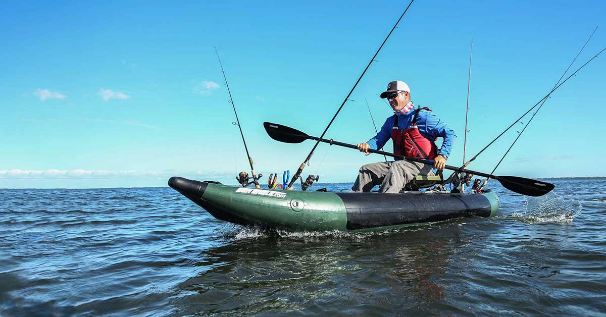 Paddling to a fishing spot in a Sea Eagle 350fx Fishing Explorer inflatable kayak.