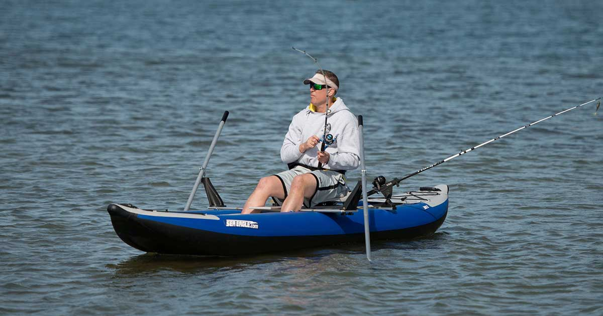 Fishing from a rowing add on for the Sea Eagle 380x Explorer inflatable kayak.