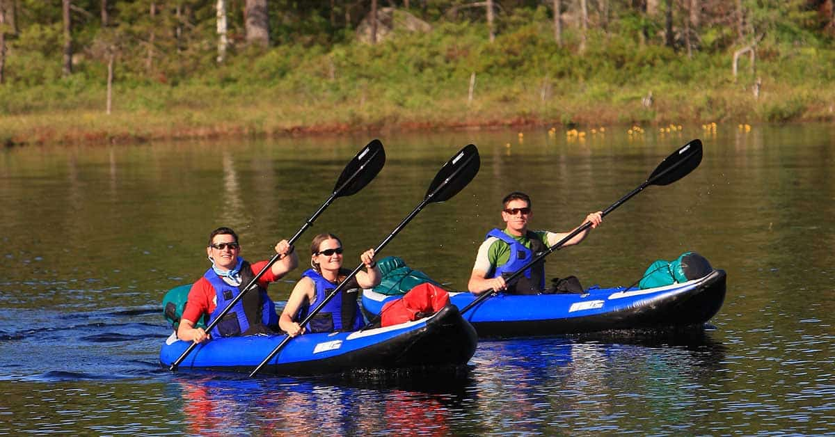 Flatwater kayaking in a Sea Eagle 380x Explorer inflatable 2- person kayak. This model kayak can be set up with seating for 2-people or just one person making it incredibly easy to switch between tandem kayaking and kayaking alone