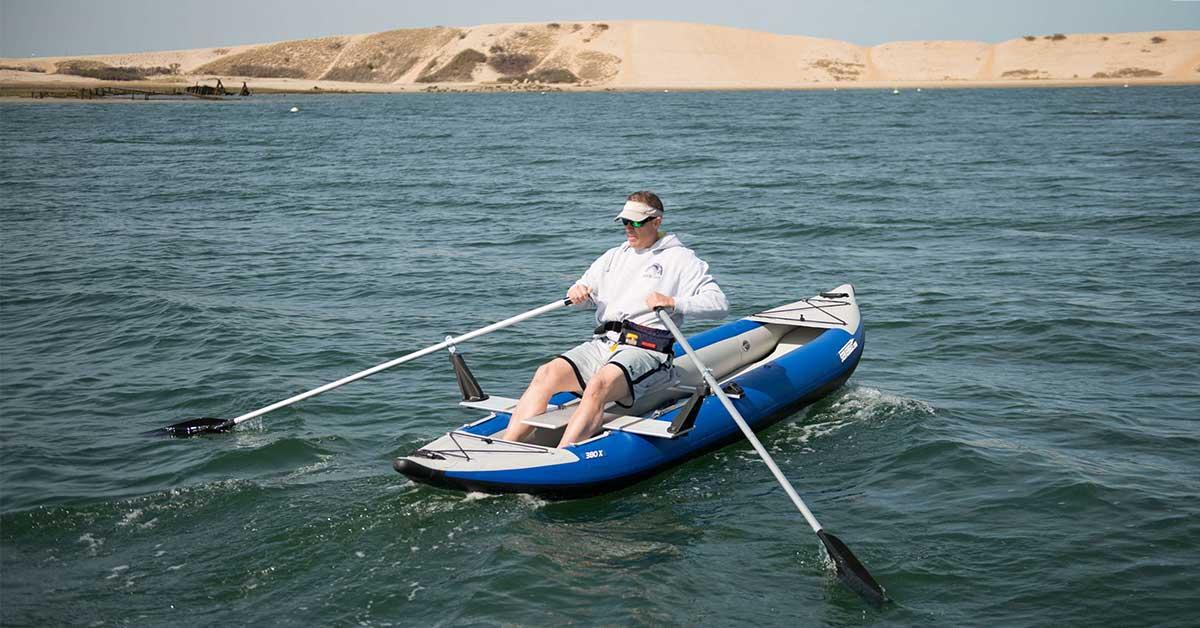 Rowing a Sea Eagle 380x Explorer inflatable kayak.