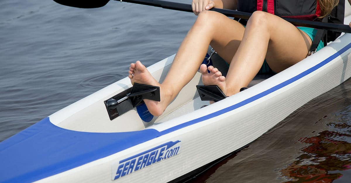The footrests on a Sea Eagle 393rl RazorLite inflatable kayak.